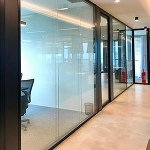 Divisórias junta seca vidro duplo